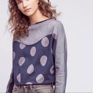 Anthropologie Postmark Cropped Dot Sweatshirt XS